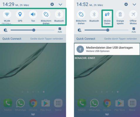 """Tippt in der Benachrichtigungsleiste bei den Icons auf """"Mobile Daten"""", um diese zu aktivieren oder deaktivieren"""
