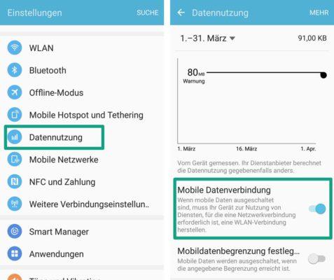 So könnt ihr das mobile Internet beim Samsung Galaxy deaktivieren und aktivieren