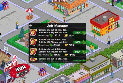 Beim Arbeitsamt von Die Simpsons Springfield kannst du mit dem Job-Manager alle Figuren der Stadt eine Aufgabe geben