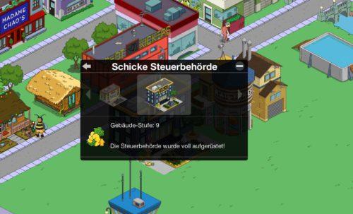 Mit Upgrade der Steuerbehörde kannst du einen größeren Umkreis abdecken, in dem die Gebäude in Simpsons Springfield abgeerntet werden