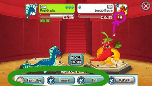 Dragon City Kampf Beispiel
