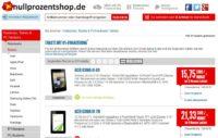 nullprozentshop.de bietet noch bis 15.11.2013 Tablets 50 Euro günstiger an (Rabatt bereits abgerechnet im Shop - kein Gutscheincode notwendig)