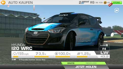 Auto Hyundai I20 WRC bei Real Racing 3 kostenlos