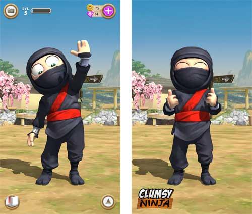 Clumpsy Ninja Abklatschen und er freut sich