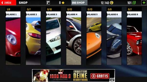 Die Fahrzeug Klassen in GT Racing 2 von Gameloft