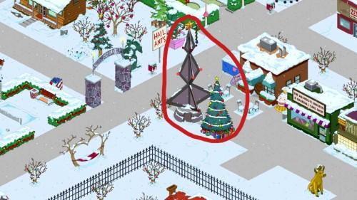 Geschenkdepot und Weihnachtsbaum in Simpsons Springfield - (c) EA