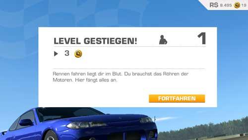 Levelaufstieg in Real Racing 3 bringt kostenloses Gold
