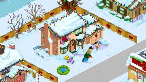 Simpsons Springfield: Homer baut einen Schneemann und Lisa einen Schneeengel - Beides bringt Geschenkkarten - (c) EA