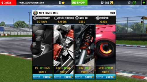 Upgrade der Autos in GT Racing 2 von Gameloft