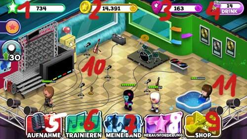 Band Stars: Die Oberfläche des Spiels