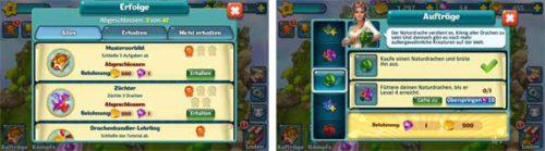 Dragons World: Aufträge und Erfolge erledigen