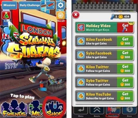 Kostenlose Münzen in Subway Surfers verdienen