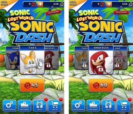 Tails und Knuckles in Sonic Dash mit roten Sternen freischalten