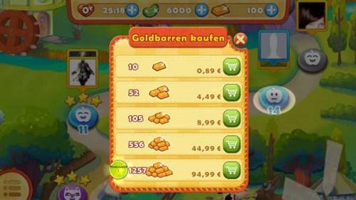 Goldbarren gegen In App Kauf - Preiswert ist anders