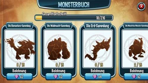 Sammlung in Monster Legends vervollständigen