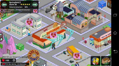 Karten antippen für Herzen in Simpsons Springfield von Freunden und Nachbarn