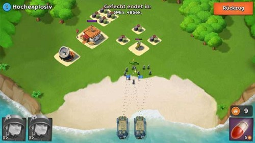 Greift in Boom Beach zunächst mit dem Torpedo an und dann platziert eure Truppen nahe am Verteidigungsturm