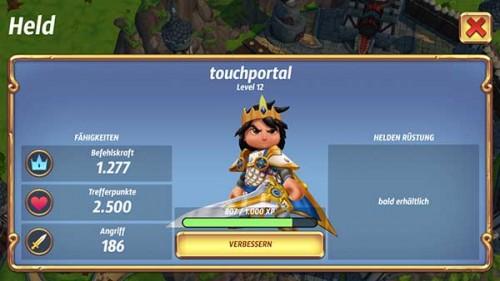 Das Level des Helden bestimmt die Kosten für das Brot für einen Kampf in Royal Revolt 2