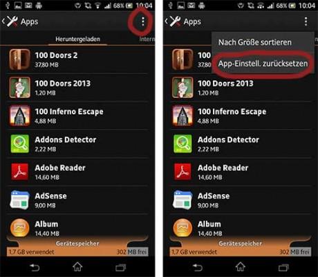 Google Play App Einstellungen zurücksetzen
