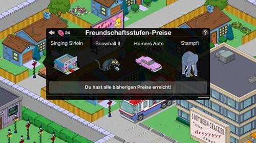Preise in Simpsons Springfield bei den Freunde-Punkten