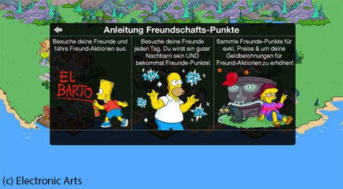 So gelangst du an Freunde Punkte in Simpsons Springfield - (c) Electronic Arts