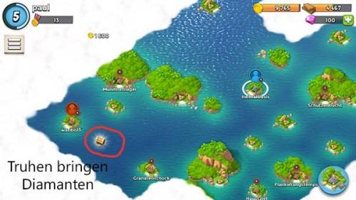 Klickt Truhen auf der Karte in Boom Beach an, um kostenlos an Diamanten zu gelangen
