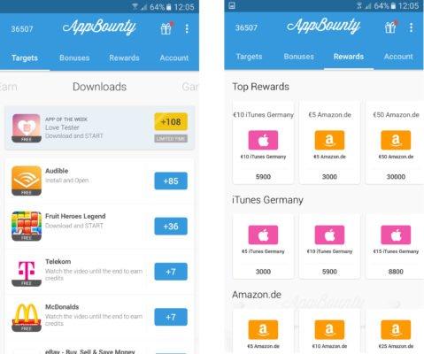 Bei AppBounty gibt es dutzende kostenlose Angebote, die mit Credits vergütet werden. Credits tauscht ihr dann in Gutscheine um!