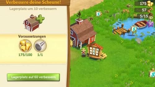 Um die Scheune in der FarmVille 2 App zu verbessern, benötigt ihr Coins und Gegenstände