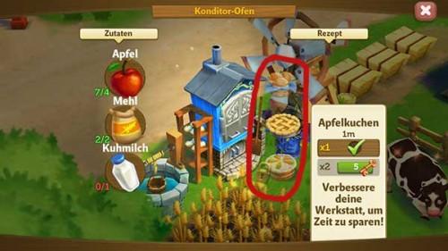 In FarmVille 2 Rauf aufs Land könnt ihr die verschiedenen Rezepte / Produkte auswählen