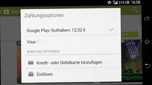 Google Play Guthaben abrufen in der App
