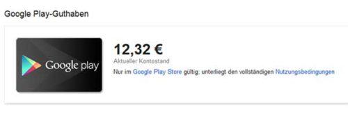 Google Play Guthaben auf der Website