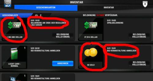 One For Eleven - Screenshot belohnung fuer aufstieg money