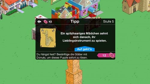 Durch das Heilige Pergament an Embleme in Simpsons Springfield gelangen - (c) EA Mobile