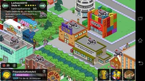 Freunde beim Simpsons Springfield Steinmetze Update ausspionieren und Embleme kassieren - (c) EA Mobile