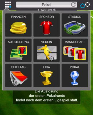 Goal Fußball Manager - Screenshot Menue