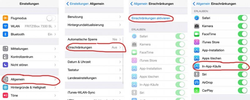 In-App-Käufe unter iOS 7 deaktivieren