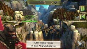Lasse Feinde bei Bridge Constructor Mittelalter in den Abgrund stürzen - (c) Headup Games