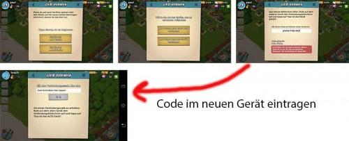 Schritt 2: Beim alten Gerät wird ein Code in der App Boom Beach eingezeigt, der im neuen Gerät eingetragen werden muss