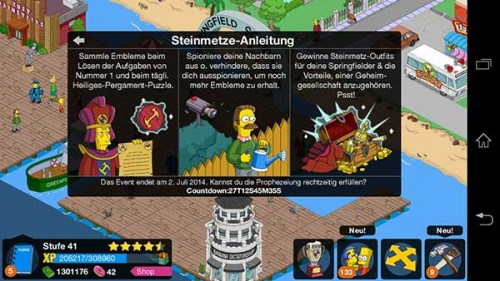 Simpsons Springfield Steinmetze Anleitung - (c) EA Mobile