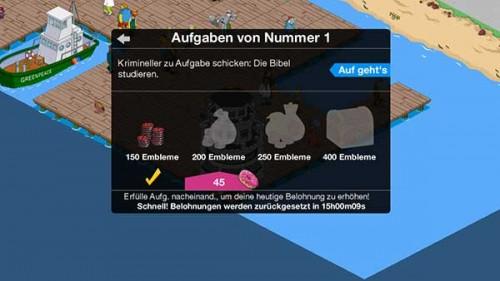 Simpsons Springfield Steinmetze: Aufgaben von Nummer 1 bringen die meisten Embleme - (c) EA Mobile