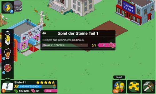 Zunächst müss tihr das Steinmetze Clubhaus errichten - (c) EA Mobile