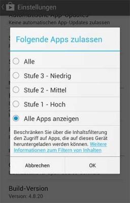 Apps unter Google Play sperren - Man ist jedoch auf den Entwickler angewiesen, der seine App entsprechend einstuft