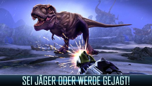 Nun geht es gegen die Dinosaurier in Dino Hunter Deadly Shores - (c) Glu