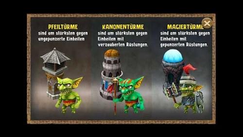 In diesem Screenshot vom Entwickler seht ihr am besten, welche Türme sich am besten in Incoming Goblins Attack gegen welchen Gegner eignen