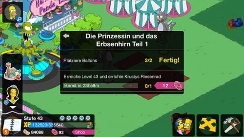 Simpsons Springfield Storyline Level 43 Die Prinzessin und das Erbsenhirn - (c) EA Mobile