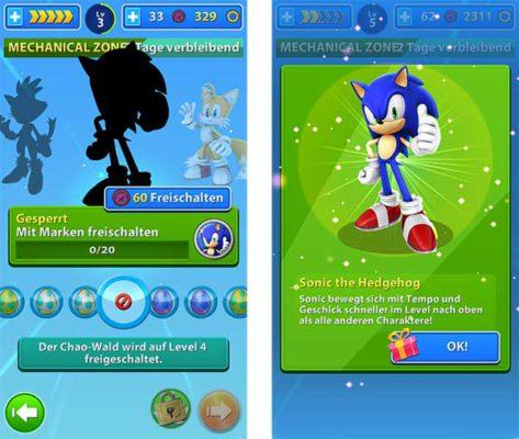 Sonic könnt ihr in Sonic Jump Fever auch ohne Ringe kostenlos freischalten - (c) Sega