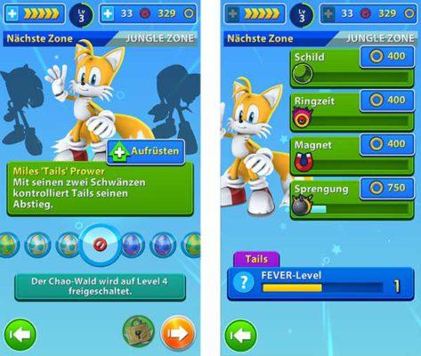 Euren häufig verwendetetn Charakter in Sonic Jump Fever solltet ihr bei den Power Ups maximal upgraden - (c) Sega