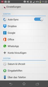 Im Screenshot: Die Konten in den Einstellungen überprüfen - Hier: Android 4.3