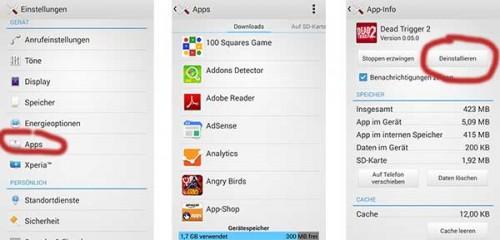 Apps über die Android Einstellungen deinstallieren