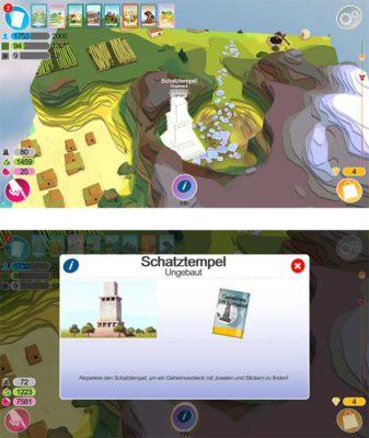 Godus: Der Schatztempel befindet sich zu Beginn der Welt auf dem großen Hügel und bringt Sticker nach seiner Fertigstellung